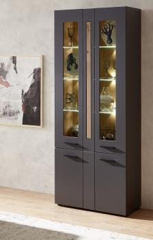 Vitrine 80 cm inkl. LED-Beleuchtung Loft-Two von Innostyle Artisan Eiche / Graphit supermatt