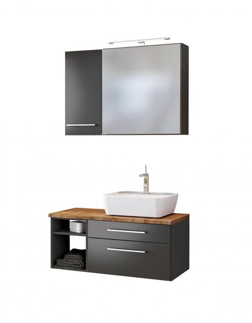 Waschtisch-Set 90 -F- Becken rechts Davos von Held Möbel Grau