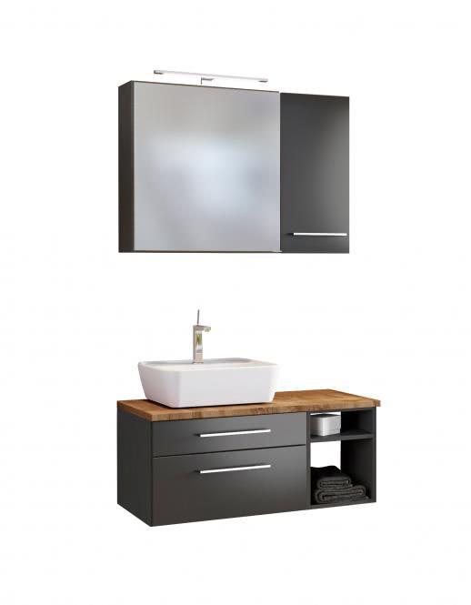 Waschtisch-Set 90 -F- Becken links Davos von Held Möbel Grau