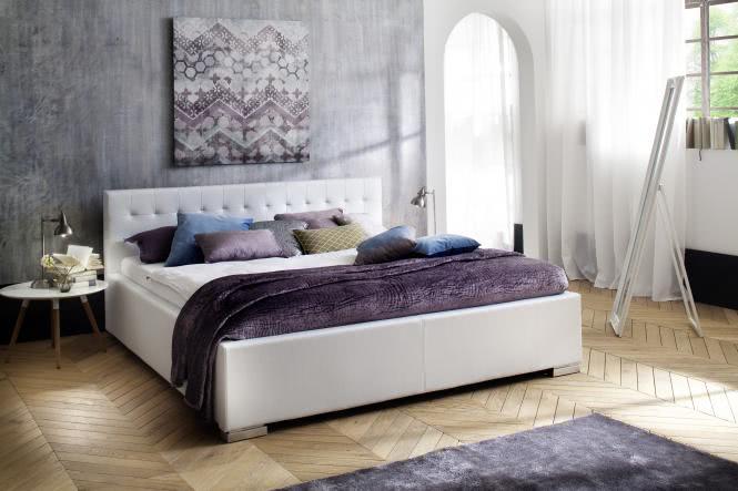 180x200 Polsterbett Kopfteil gesteppt SANDRA Comfort von Meise Möbel Kunstleder weiss