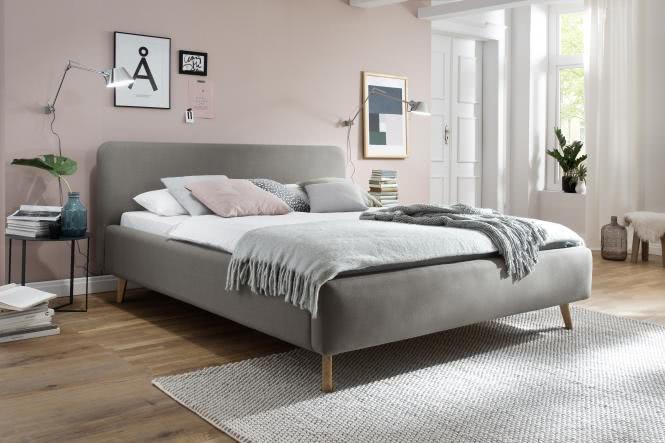 180x200 Polsterbett MATTIS von Meise Möbel Kopfteil glatt ASPEN taupe / Fuß Eiche