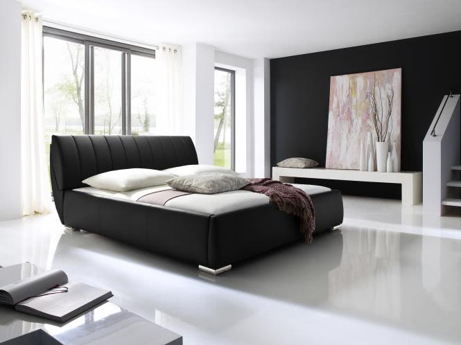 200x200 Polsterbett inkl Bettkasten u Lattenrost BERN von Meise Möbel Kunstleder schwarz