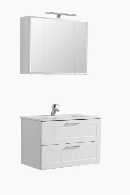 Waschtisch-Set 80 inkl LED Beleuchtung Barolo von Held Möbel Weiß