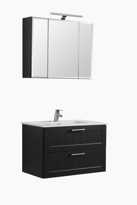 Waschtisch-Set 80 inkl LED Beleuchtung Barolo von Held Möbel Grau