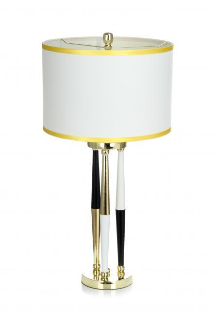Tischlampe / Stehlampe Paralla 110 Weiß / Schwarz / Gold von Kayoom
