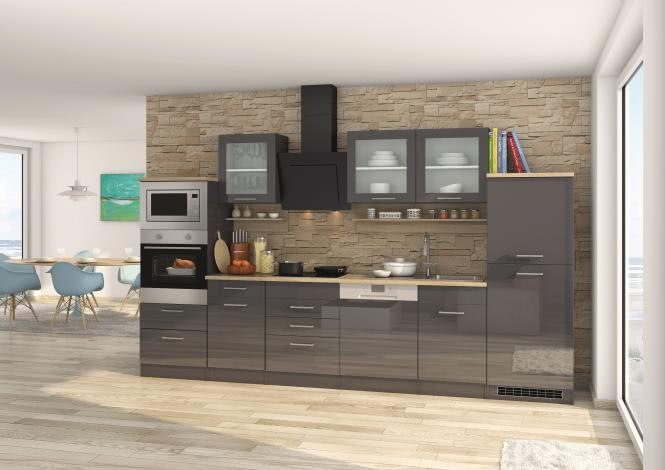 Küchenblock 340 inkl E-Geräte von PKM, Geschirrspüler Induktion autark (6 tlg) MAILAND von Held Möbel Graphit / Eiche Sonoma