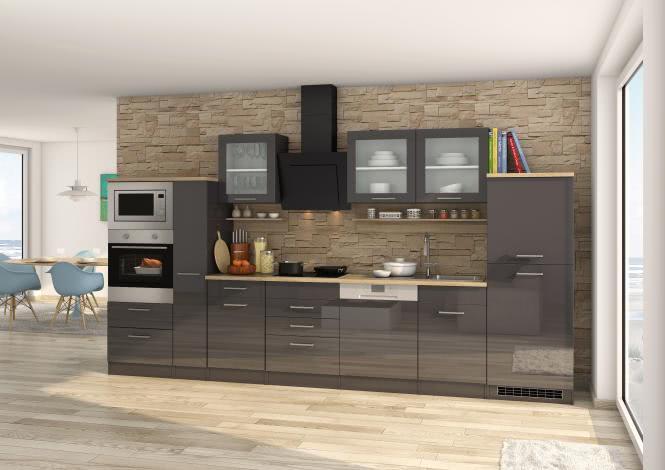 Küchenblock 370 inkl E-Geräte von PKM, Geschirrspüler Induktion autark (6tlg) MAILAND von Held Möbel Graphit / Eiche Sonoma