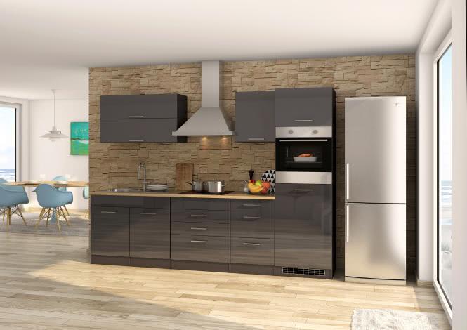 Küchenblock 290 inkl E-Geräte von PKM, Kühlschrank autark (4 tlg) MAILAND von Held Möbel Graphit / Eiche Sonoma