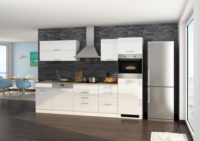 Küchenblock 300 inkl E-Geräte von PKM inkl Kaminhaube autark (4 tlg) MAILAND von Held Möbel Weiss / Eiche Sonoma