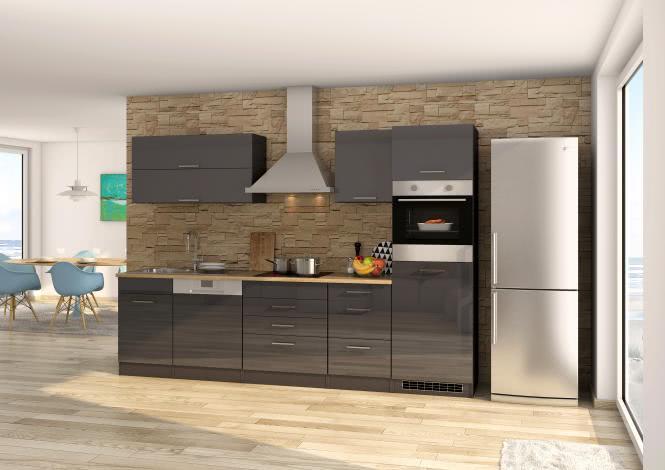 Küchenblock 300 inkl E-Geräte von PKM, Kühlschrank Induktion autark (4 tlg) MAILAND von Held Möbel Graphit / Eiche Sonoma