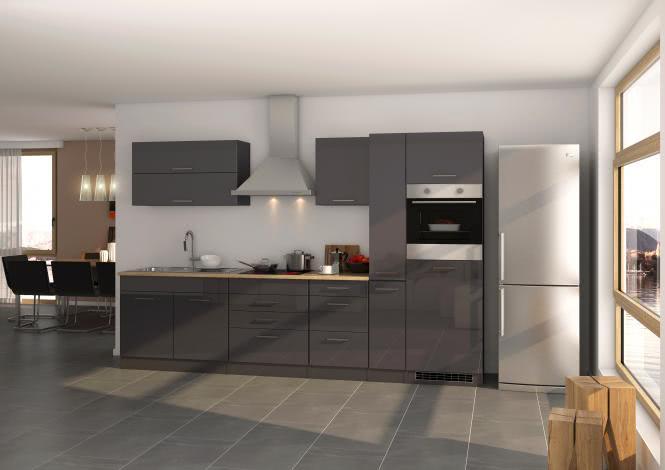 Küchenblock 320 inkl E-Geräte von PKM autark (3 tlg) MAILAND von Held Möbel Graphit / Eiche Sonoma