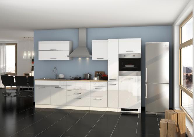 Küchenblock 320 inkl E-Geräte von PKM Induktion autark (4 tlg) MAILAND von Held Möbel Weiss / Eiche Sonoma