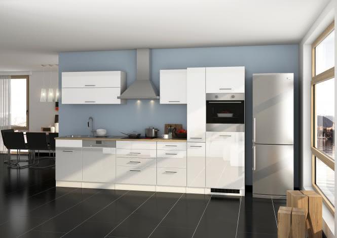 Küchenblock 330 inkl E-Geräte von PKM inkl Kaminhaube autark (5 tlg) MAILAND von Held Möbel Weiss / Eiche Sonoma