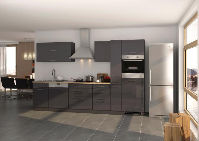 Küchenblock 330 inkl E-Geräte von PKM inkl Kaminhaube autark (5 tlg) MAILAND von Held Möbel Graphit / Eiche Sonoma