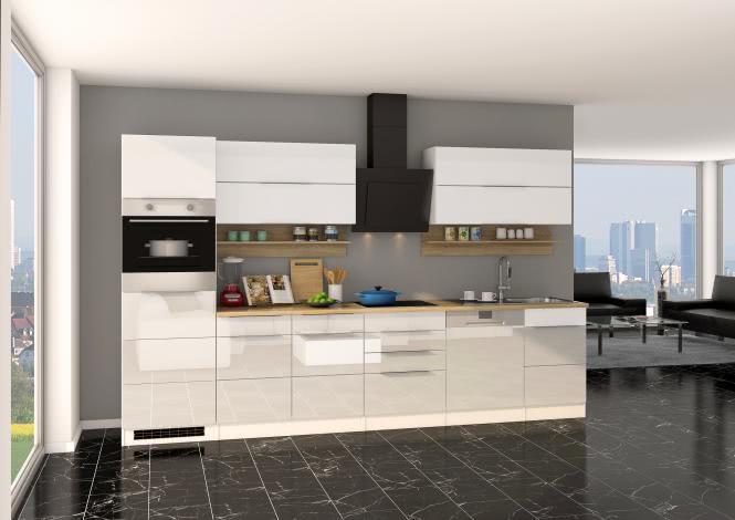 Küchenblock inkl E-Geräte und Geschirrspüler teilintegriert 330 cm breit NEAPEL 330GS von Held Möbel Weiss / Hochglanz Weiss