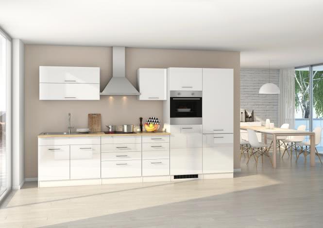 Küchenblock 350 inkl E-Geräte von PKM, Kühl/Gefrierkombi, autark (4 tlg) MAILAND von Held Möbel Weiss / Eiche Sonoma