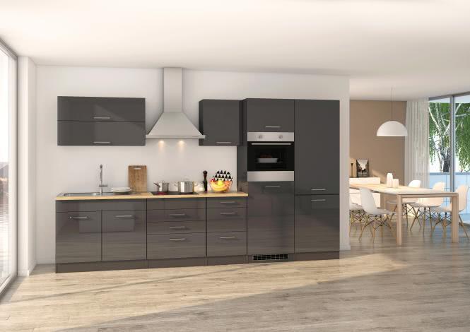 Küchenblock 350 inkl E-Geräte von PKM, Kühl/Gefrierkombi, autark (4 tlg) MAILAND von Held Möbel Graphit / Eiche Sonoma