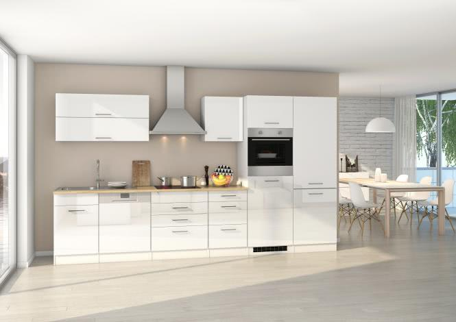 Küchenblock 360 inkl E-Geräte von PKM, Kühl/Gefrierkombi autark (5 tlg) MAILAND von Held Möbel Weiss / Eiche Sonoma