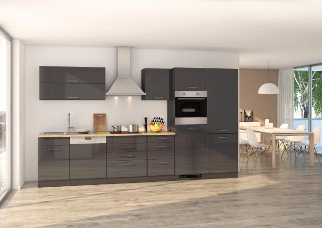 Küchenblock 360 inkl E-Geräte von PKM, Kühl/Gefrierkombi Induktion autark (5 tlg) MAILAND von Held Möbel Graphit / Eiche Sonoma