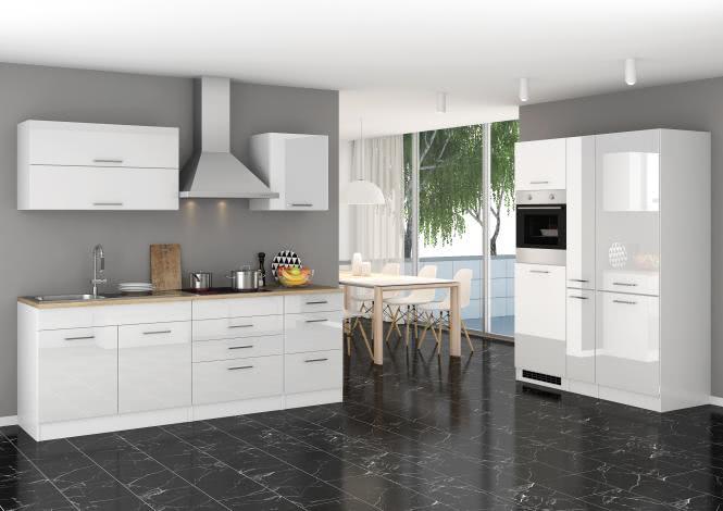 Küchenblock 380 inkl E-Geräte von PKM, Kühl/Gefrierkombi, autark (4 tlg) MAILAND von Held Möbel Weiss / Eiche Sonoma