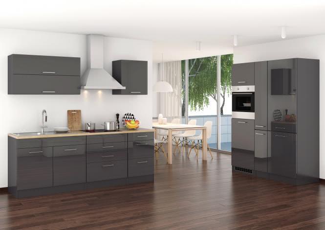 Küchenblock 380 inkl E-Geräte von PKM, Kühl/Gefrierkombi, autark (4 tlg) MAILAND von Held Möbel Graphit / Eiche Sonoma