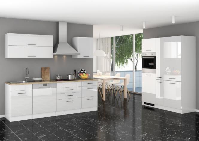 Küchenblock 390 inkl E-Geräte von PKM, Kühl/Gefrierkombi Induktion autark (5 tlg) MAILAND von Held Möbel Weiss / Eiche Sonoma
