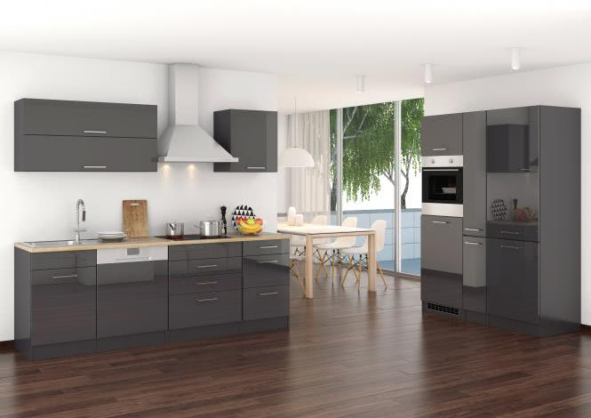 Küchenblock 390 inkl E-Geräte von PKM Kühl/Gefrierkombi Induktion autark (5 tlg) MAILAND von Held Möbel Graphit / Eiche Sonoma