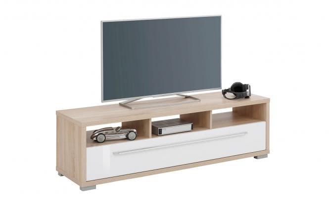 TV Lowboard 142 cm von MAJA Sonoma Eiche / Weiss Hochglanz