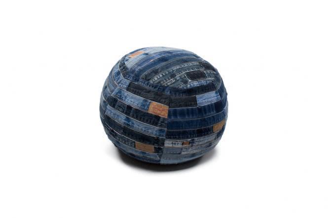 40x40 Kissen Denim Pouf 210 Jeansblau von Kayoom