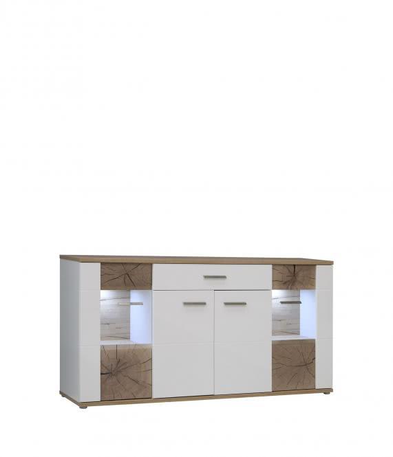 Sideboard ASTA inkl Glasbodenbeleuchtung von Forte Weiss Hgl / Planked Eiche