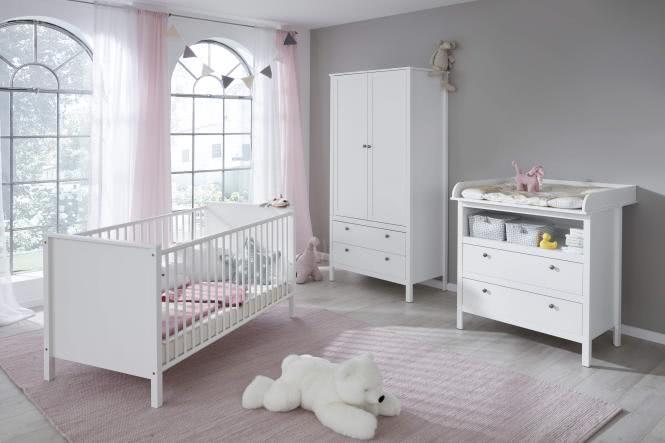 Babyzimmer Set 3-tlg inkl Kleiderschrank 2-trg Ole von Trendteam Weiss