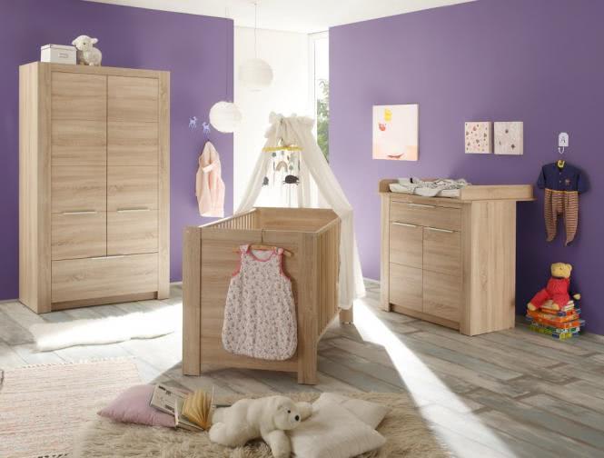 Babyzimmerset 4-tlg inkl 2-trg Kleiderschrank CARLOTTA von Trendteam Eiche Sägerau Hell