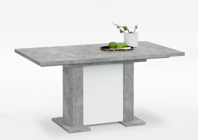 BERCK Esstisch ausziehbar 160-195-230 cm breit von FMD Beton / Weiss