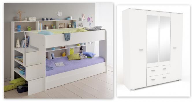 Kinderzimmer-Set 3-tlg inkl 90x200 Etagenbett Bettkasten u Kleiderschrank 4-trg Bibop 51 von Parisot Weiss