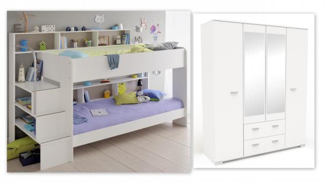 Kinderzimmer-Set 2-tlg inkl 90x200 Etagenbett u Kleiderschrank 4-trg Bibop 52 von Parisot Weiss