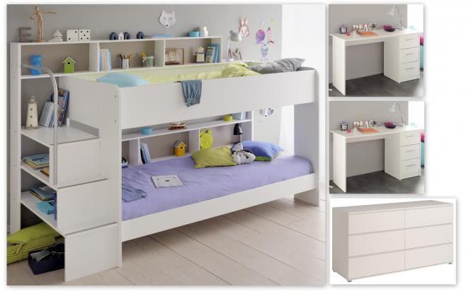 Kinderzimmer-Set 4-tlg inkl 90x200 Etagenbett Kommode u Schreibtische 2er Set Bibop 62 von Parisot Weiss