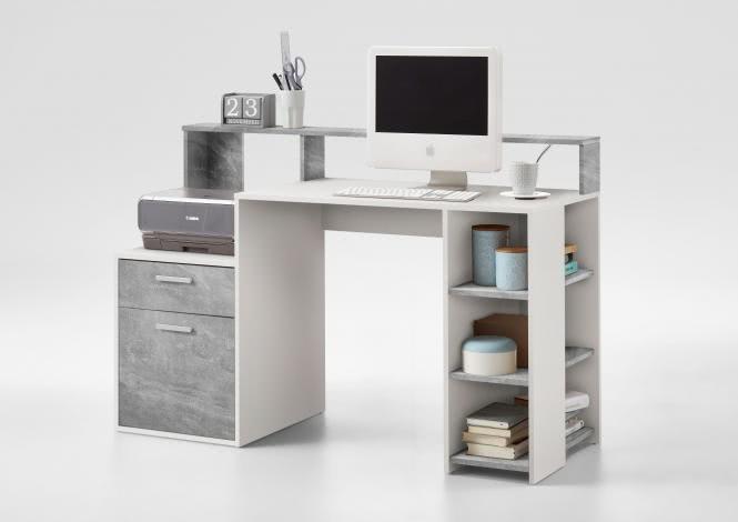 BOLTON Computertisch kompakt ca. 139 cm breit von FMD Weiss / Beton i | Büro > Bürotische > Computertische | Weiss - Weiß | Beton - Spanplatte