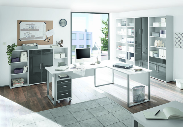 Bürokombination 6-tlg. Office Lux von Bega Lichtgrau/Glas Graphit