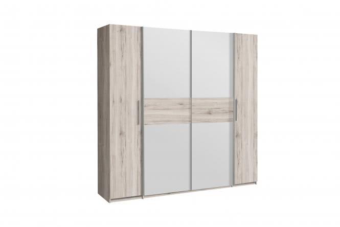 Kleiderschrank 4-trg Calido von Forte Sandeiche / Weiß