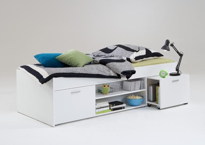 CARLO 1 90x200 Bettanlage inkl ausziehbarer Nako von FMD Weiß