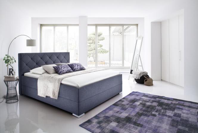 180x200 Polsterbett CHICAGO von Meise Möbel CULTURE grau / Fuß Chrom
