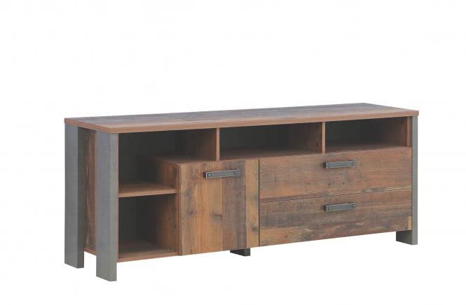 TV-Unterschrank CLIF von Forte Old Wood Vintage / Betonoptik Dunkelgrau i