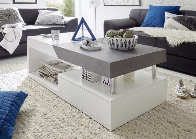 Couchtisch HOPE von MCA Furniture Weiss matt / Beton