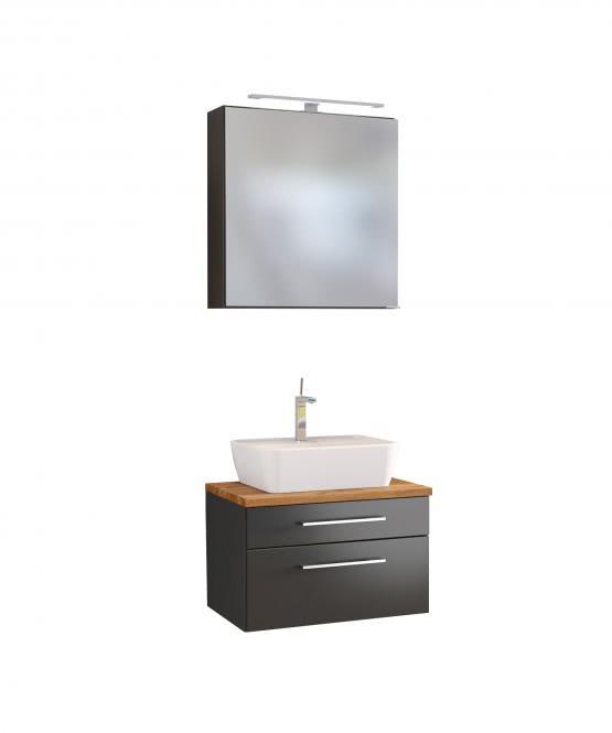 Waschtisch-Set 60 inkl Spiegelschrank Davos von Held Möbel Grau
