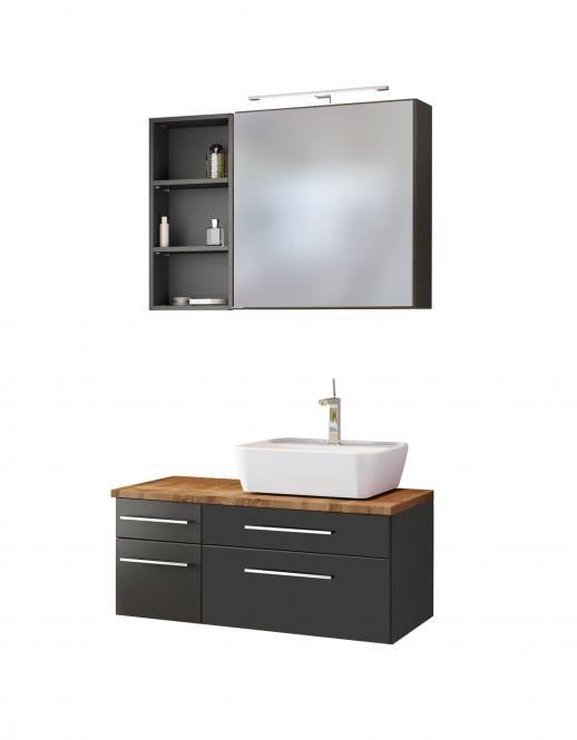 Waschtisch-Set 90 -G- Becken rechts Davos von Held Möbel Grau
