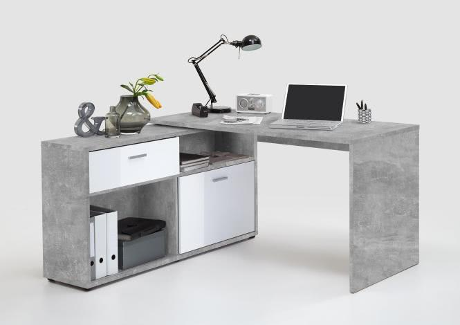 DIEGO Winkelschreibtisch von FMD Beton / Weiß Hgl