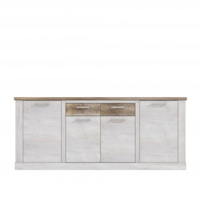Sideboard 4-trg Duro von Forte Pinia Weiß / Eiche Antik