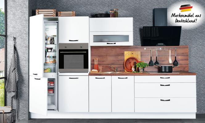 Einbauküche CINDY 239 inkl E-Geräte 330 cm von Burger Weiss Seidenmatt