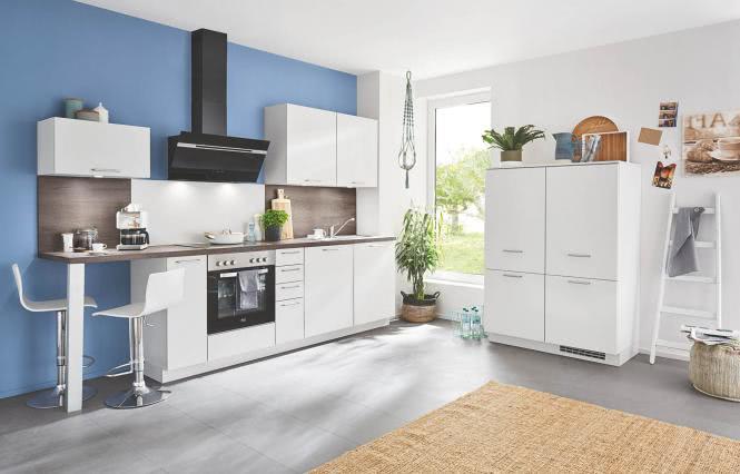 Einbauküche SPEED 259 inkl E-Geräte 300 + 120 cm von Nobilia Seidengrau / Eiche Dakota
