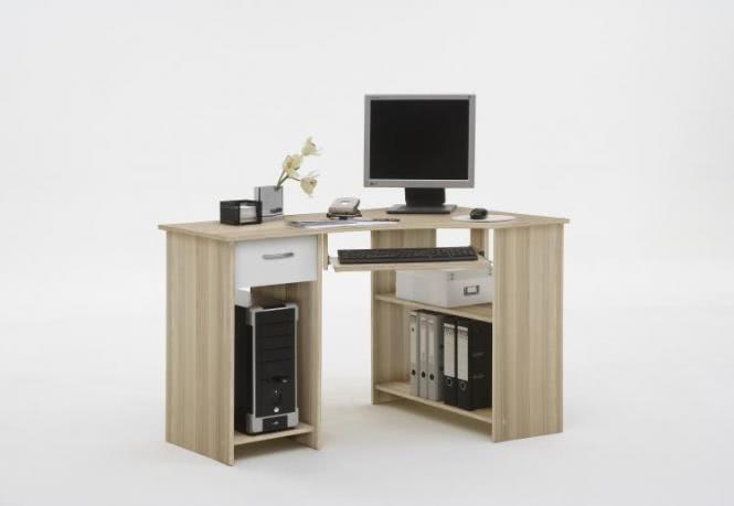 FELIX 1 Computertisch mit 1 Schubkasten von FMD Esche / Weiß